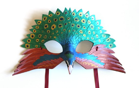 Half Peacock Mask - Handmade leather bird mask