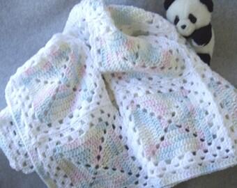 Pastel Crocheted Baby Blanket