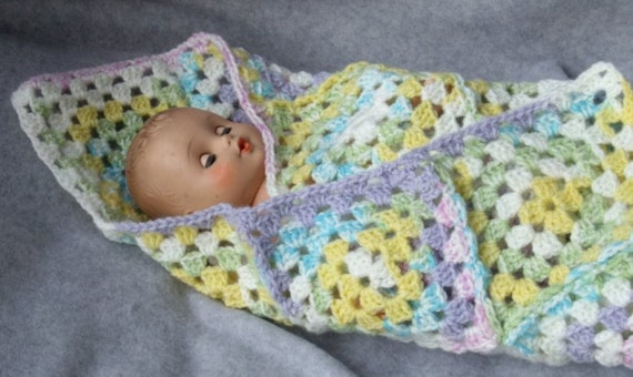 Purple, Blue and Green crocheted Doll Blanket or Preemie Blanket