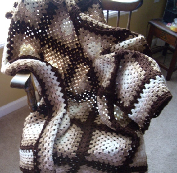Shades of Brown Granny Afghan