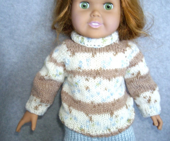 Brown and White Jacquard Turtleneck Sweater for American Girl and other 18 Inch Dolls