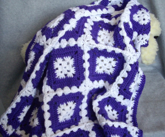 Items Similar To Royal Purple And White Crocheted Baby
