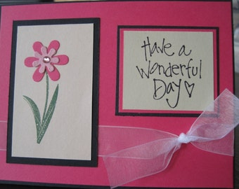 Have a Wonderful Day Pink All Purpose Flower Card with Ribbon and Rhinestone