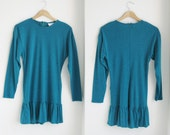 Vintage 80s turquoise mini long sleeve dress.(Reserved for Anna)