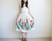 Vintage 1980s white and red floral sleeveless dress. (SALE)