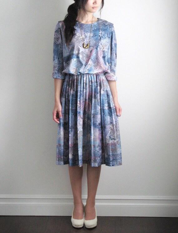 Vintage light grey and blue paint pattern dress . (SALE)