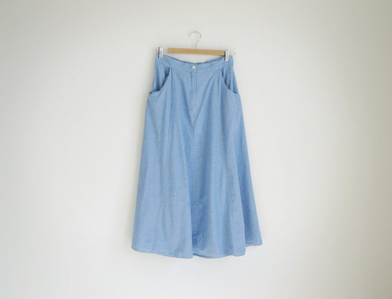 Vintage sky blue cotton long skirt.