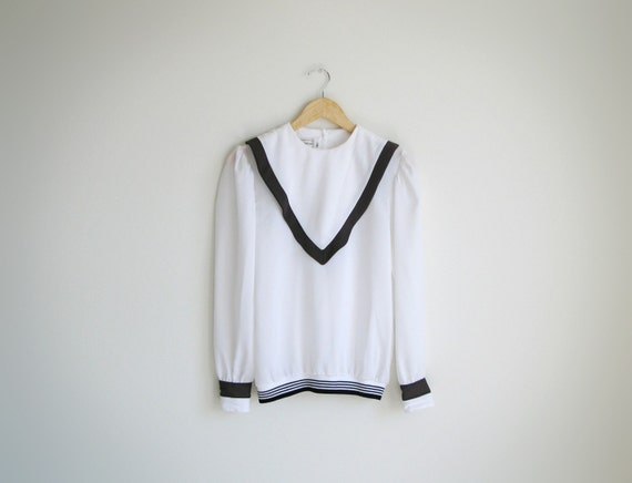 Vintage white long sleeves sailor's top . (SALE)