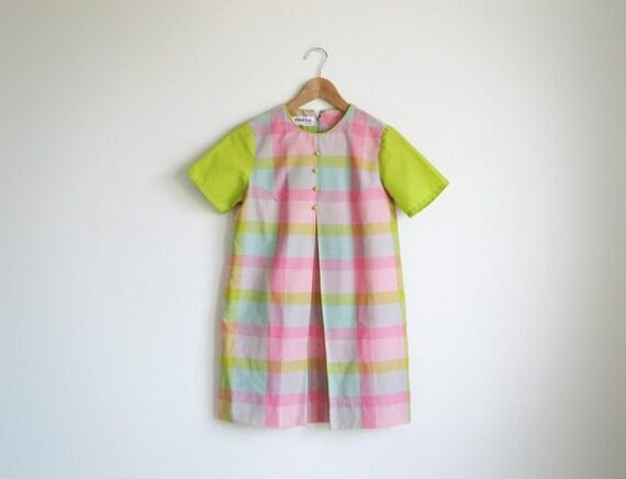Vintage pastel pink and green plaid short sleeve mini dress. (SALE)