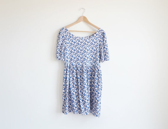Vintage blue and white floral baby doll dress.