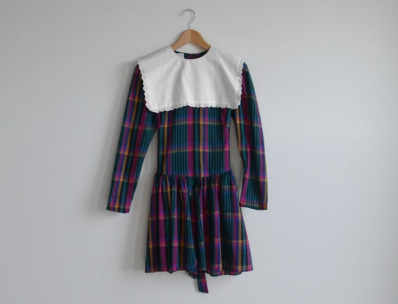 Vintage pink and green plaid dress with white collar.(SALE)