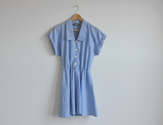 Vintage white and blue stripe dress with a belt. (SALE)