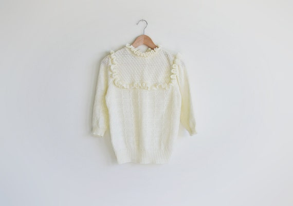 Vintage MADEMOISELLE ivory knit sweater top.