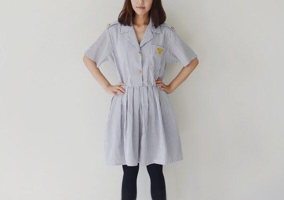 Vintage FRANCES HENAUGHAN seersucker sailor dress.