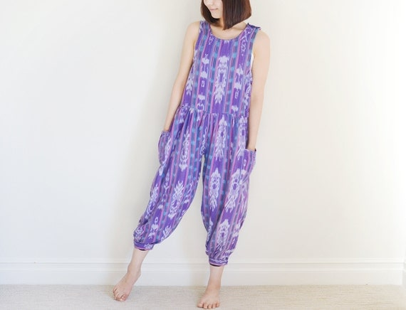 Vintage MAYAN ART purple southwestern long jumpsuit.