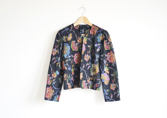 Vintage CHEQUERS black floral jacket.