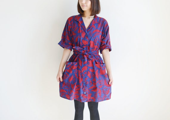 Vintage red and blue tropical shirts dress.(SALE)