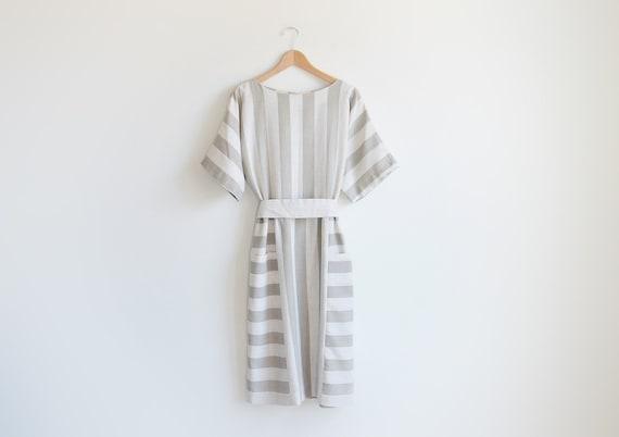 Vintage LISA II ivory and olive stripe tunic dress.