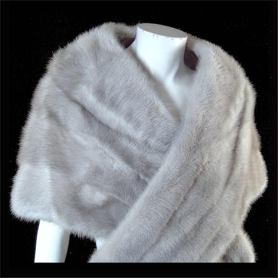 gorgeous silver grey mink fur stole