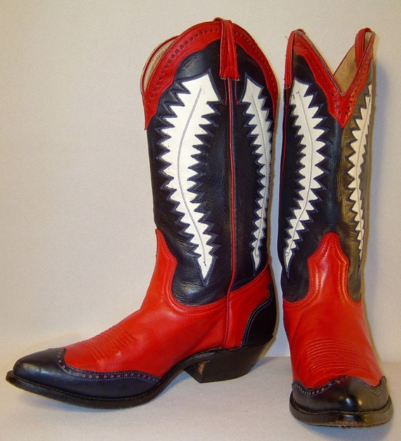 RESERVED Black red and white cowboy boots Men 8 Women 9