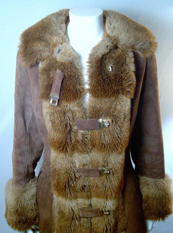 Vintage suede leather princess coat - Small - toggles - faux fur trim - mini