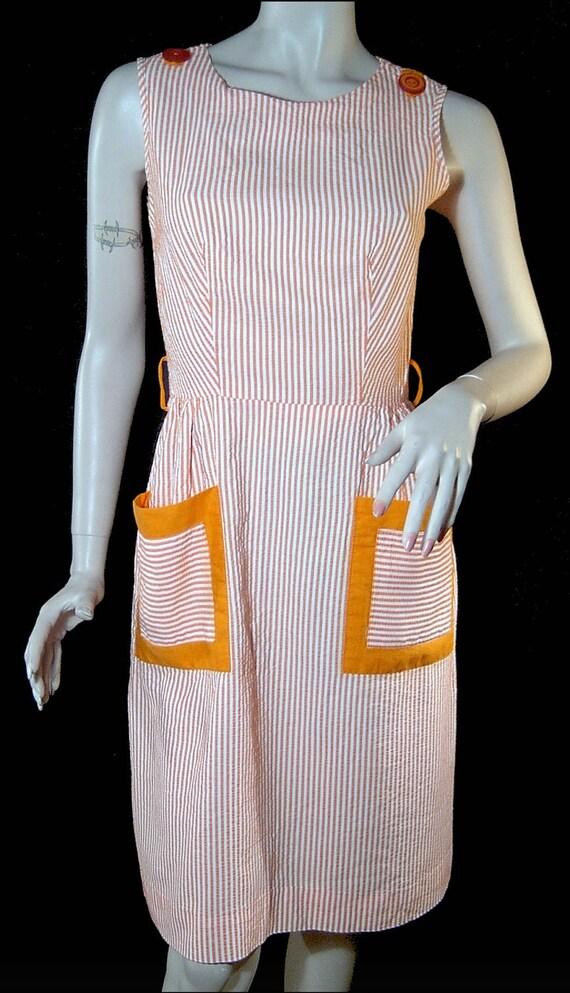 Vintage 1960s dress - Small / Medium - orange sherbet and white cotton seersucker - mint condition