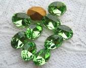 8x6 Swarovski Glass Peridot Green Oval Loose Rhinestones Qty 10