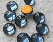 9mm Round Glass Flat Back Cabochons Montana Blue Cab Qty 10