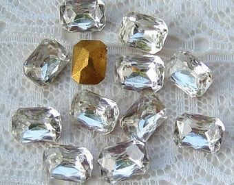 7x5 mm Vintage Czech Glass Clear Octagon Crystal Loose Rhinestones Qty 12