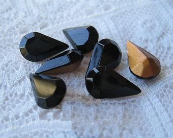 10x6 Swarovski Jet Black Pear Rhinestone Glass Jewel