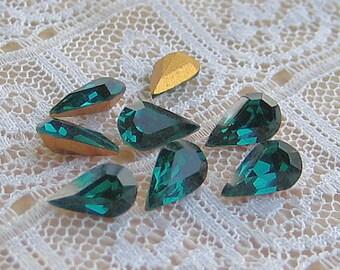 8x4 Swarovski Emerald Green Vintage Rhinestone Pear Machine Cut