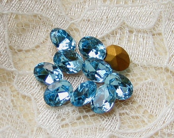 Swarovski 8x6 mm Aqua Blue Oval Loose Rhinestones Qty 10