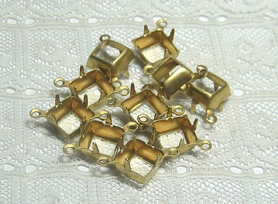 8x8 Square Open Back Brass Prong Settings Two Ring Qty 10