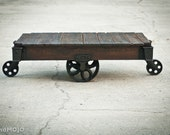 RESERVED FOR krvns08 - Vintage Industrial Factory Cart Coffee Table - salvaged repurposed weathered rustic in stock
