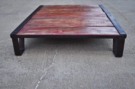 Vintage Industrial Moldmaker's Table / RED - coffee table - 48x36x8 - rustic - furniture - repurpose - salvage - iron - distress - steampunk