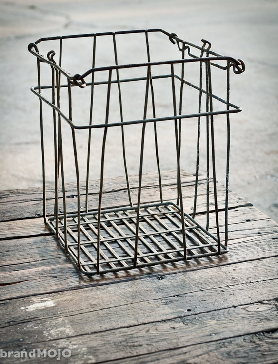 Vintage Wire Crate 13L x 12W x 15T industrial decor shabby chic modern basket storage reclaimed salvaged cottage decor boho office