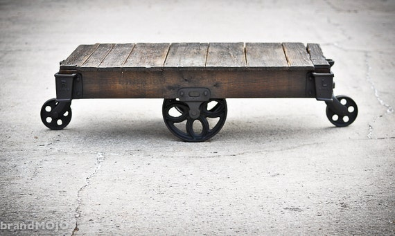Vintage Industrial Factory Cart Coffee Table - 48L x 27W x 14T - furniture - salvaged - repurposed - weathered - rustic - primitive - wood