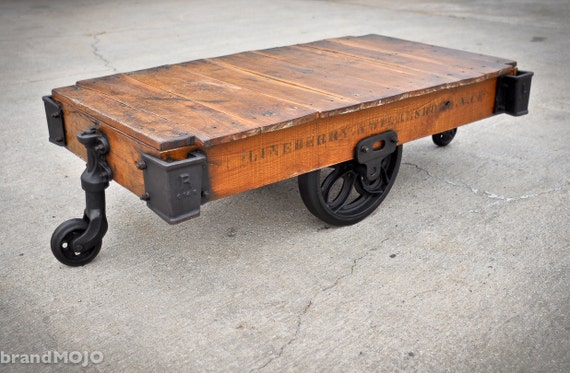 RESERVED FOR beverlychau Vintage Industrial Factory Cart Coffee Table