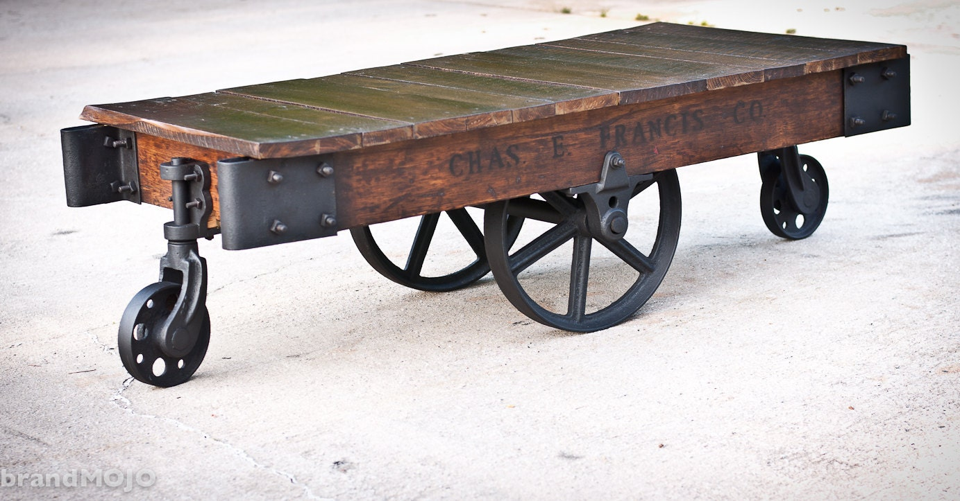 Industrial Factory Cart Coffee Table Factory Cart Coffee Table