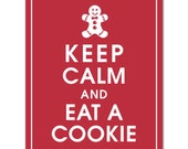 Keep Calm and EAT A COOKIE (D- Ginger Bread Man) - Art Print (Featured in Cardinal Red) Keep Calm Art Prints and Posters
