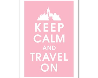 Keep Calm and Travel On - NYC Skyline Statue of Liberty 13x19 Poster (Pink Lemonade)