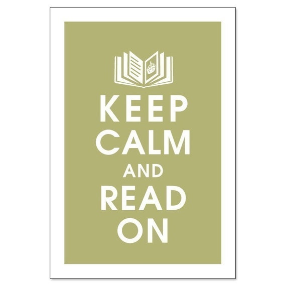 KEEP CALM AND READ ON Open Book with Crown 13x19 Poster