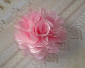 2 pcs - 3'' Satin mesh silk flowers without hair clip wedding bridal bridesmaid brooch flowers - Pink