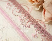 NEW: Soft Pink Lace & Pearl Boarders with rhinestones lace sheer velvet center trim for scrapbooking journal collage album cardmaking