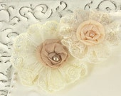 Poetic Whispers Creme Lace and Sheer Fabric Flowers (2 pcs)