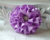 """Giselle Collections - Lavender 2.5"""" Satin Flower with Rhinestone Center Wedding Bridal Favor Hair Accessory Applique Brooch headband"""