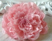 Pink Mauve 5'' peony fabric and lace flower with hair clip alligator clip and brooch pin hair band pin bow clip clipie