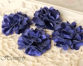 4 pcs - New Tiny Size Petite Satin and Tulle Puff Mesh Flowers without hair clip wedding bridal bridesmaid brooch flowers - Purple