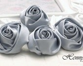 Set of 4 -  50mm Adorable Rolled Satin Rose Rosettes Fabric flowers - Silver Grey