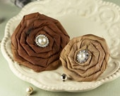 Prima Flowers : Coiled Pearls - Catherine Caramel Brown Rolled Rosette Satin Fabric Flowers